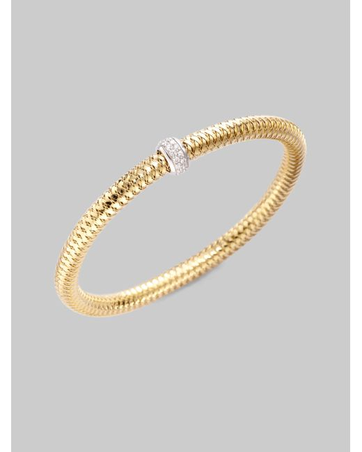 Roberto Coin | Metallic Primavera Diamond & 18k Yellow Gold Woven Bracelet | Lyst