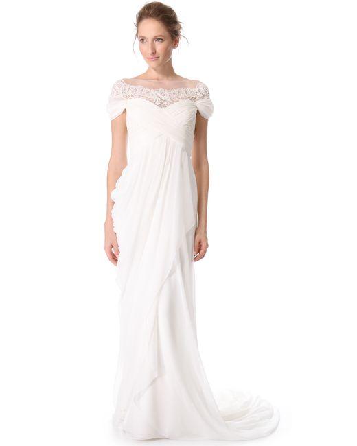 Marchesa | Beige Grecian Illusion Gown | Lyst