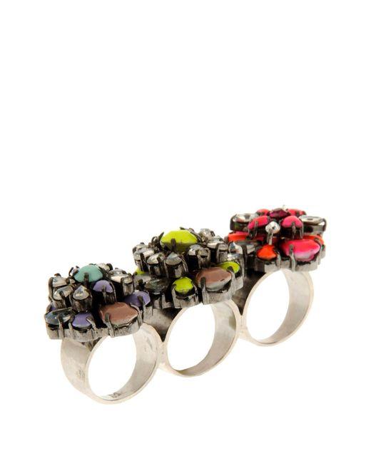 Shourouk | Yellow Tyson Gunmetal-Tone Crystal Three-Finger Ring | Lyst
