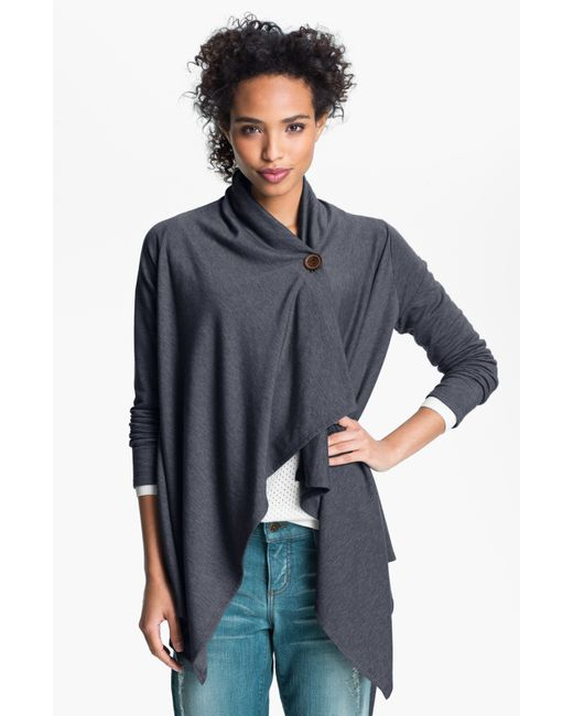 Bobeau | Gray One-button Fleece Wrap Cardigan | Lyst