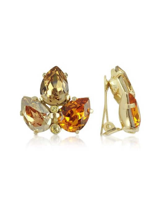 AZ Collection | Orange Amber Crystal Clip-on Earrings | Lyst