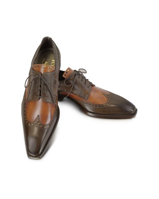 forzieri two tone italian handcrafted leather wingtip