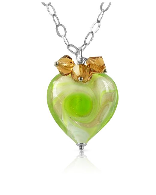 House of Murano | Metallic Vortice - Lime Murano Glass Swirling Heart Sterling Silver Necklace | Lyst
