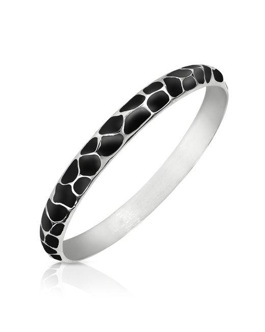 Just Cavalli | Black Giraffe Patterned Stainless Steel Bangle Bracelet | Lyst