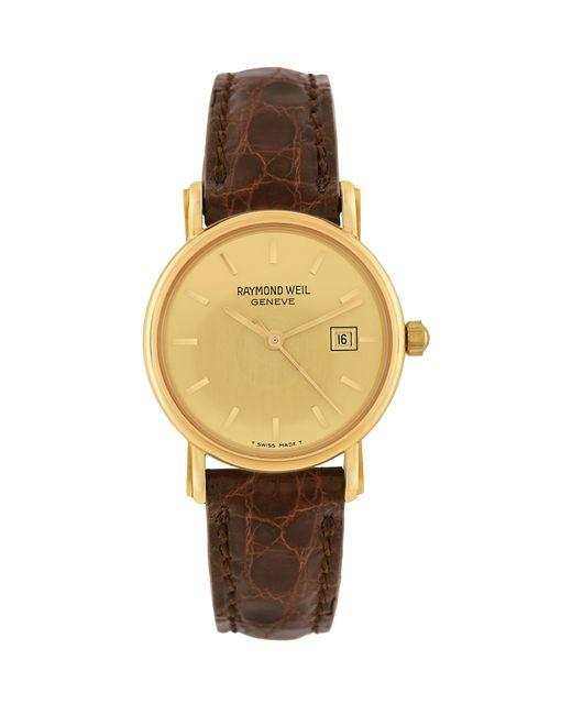 Raymond Weil | Brown Croco-stamped Leather Strap 18k Gold Date Dress Watch | Lyst