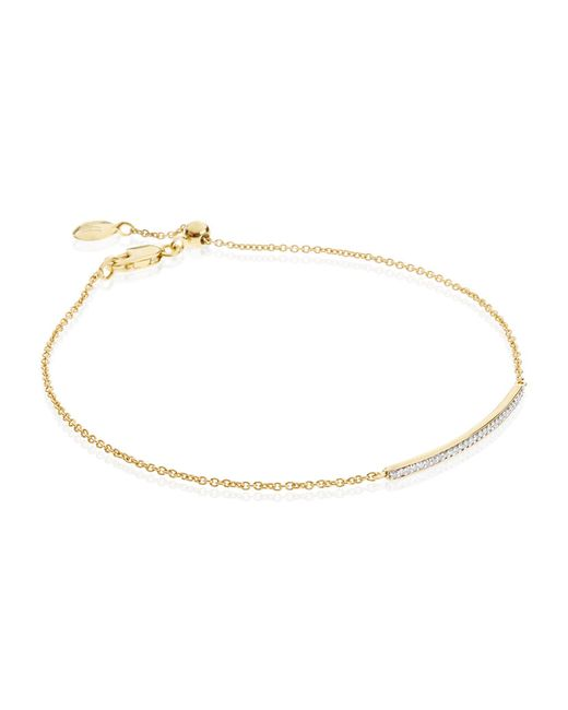 Monica Vinader | Metallic Skinny Short Bar Bracelet Diamond | Lyst