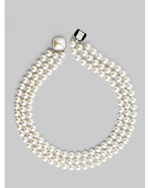 Majorica | 8mm White Pearl & Sterling Silver Nested Triple-strand Necklace | Lyst