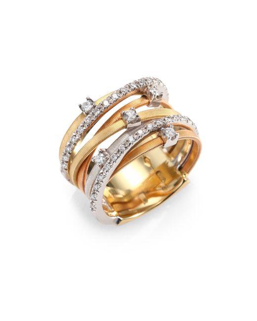 Marco Bicego | Metallic Goa Diamond, 18k White, Rose & Yellow Gold Seven-strand Ring | Lyst