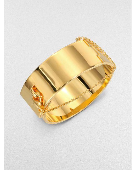 Eddie Borgo | Metallic Safety Chain Cuff Bracelet/Goldtone | Lyst