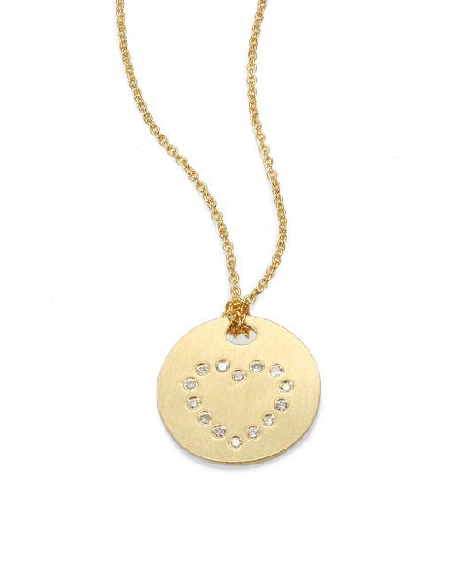Roberto Coin   Metallic Tiny Treasures Diamond & 18k Yellow Gold Heart Disc Pendant Necklace   Lyst