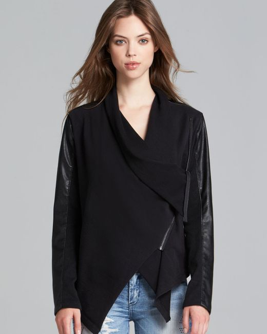 Blank NYC | Black Jacket - Faux Leather Asymmetric Zip | Lyst