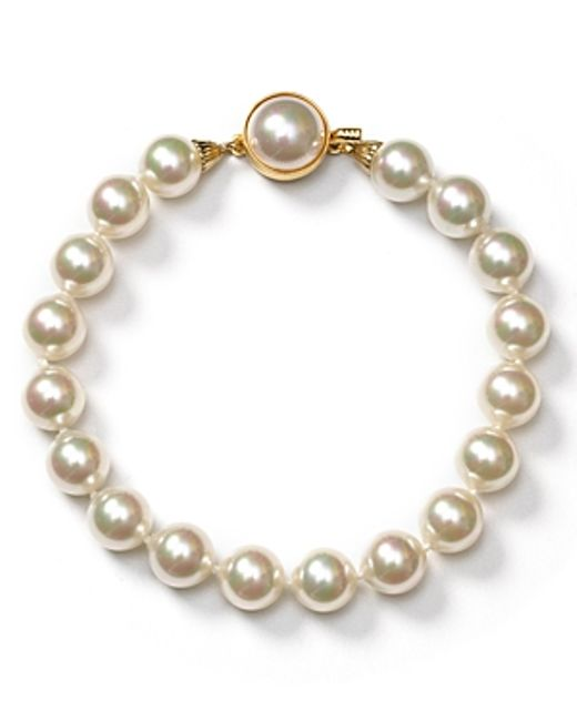 Majorica | White 8mm Simulated Pearl Bracelet | Lyst