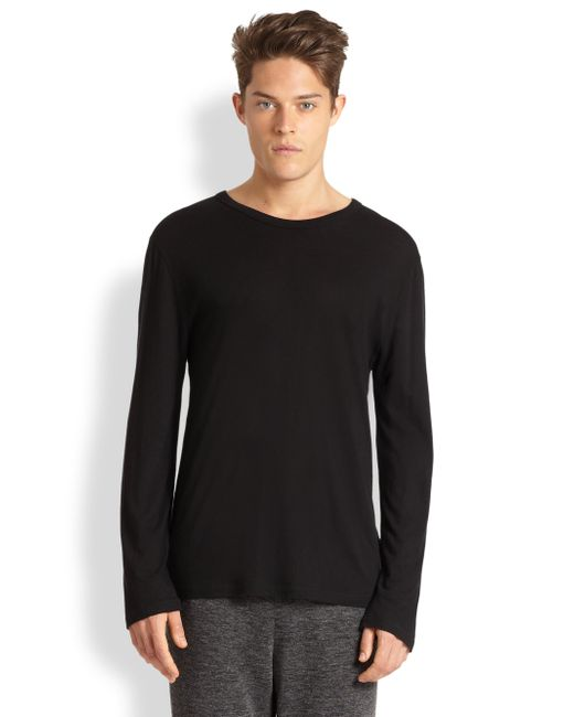 T By Alexander Wang | Black Solid Cotton Tee for Men | Lyst