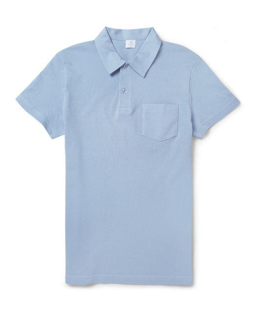 Sunspel | Light Blue Piqué Cotton Polo Shirt for Men | Lyst