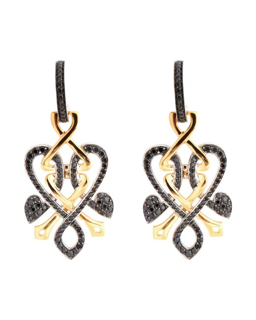 Biba | Metallic Gold And Black Diamond Heart Twist Drop Earrings | Lyst