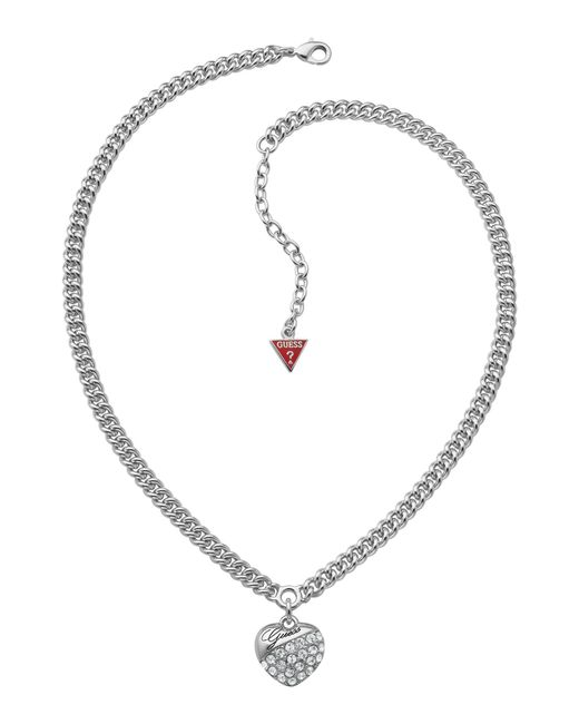 Guess | Metallic Crystal Crush Silver Heart Necklace | Lyst