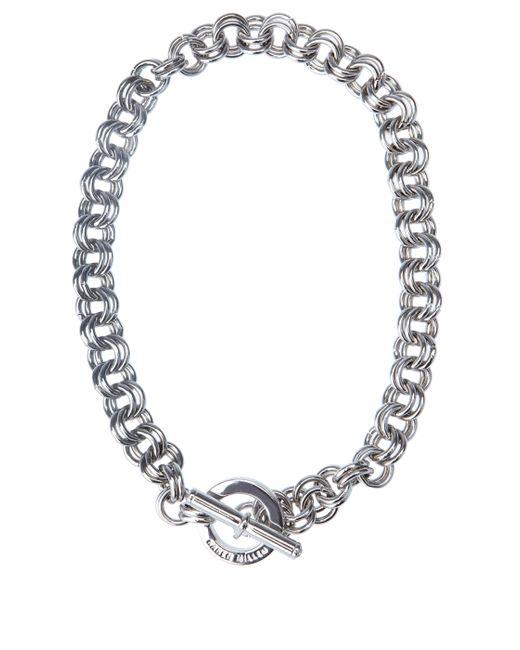 Karen Millen | Metallic Encrusted Bar & Hoop Necklace - Km | Lyst