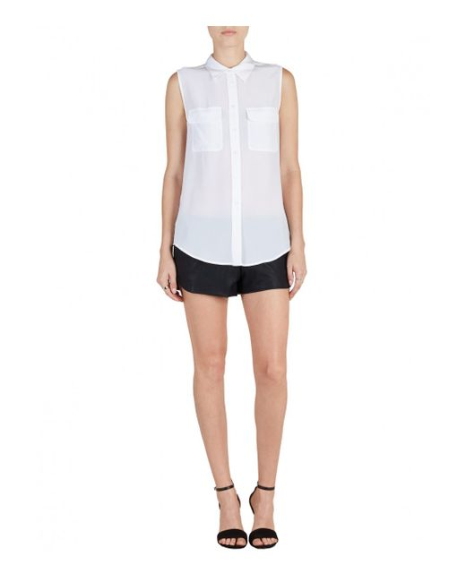 Equipment | White 'slim Signature' Sleeveless Silk Shirt | Lyst