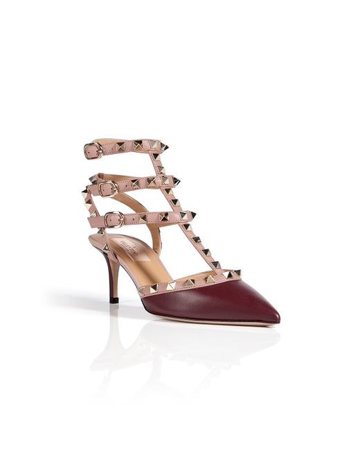 Valentino | Purple Leather Rock-stud Kitten Heels | Lyst