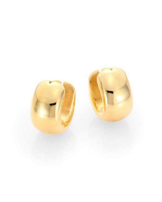 Roberto Coin | Metallic 18k Yellow Gold Huggie Hoop Earrings/0.6 | Lyst