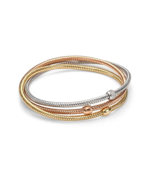 Roberto Coin | Primavera Diamond, 18k White, Rose & Yellow Gold Three-row Interlocked Bracelet | Lyst