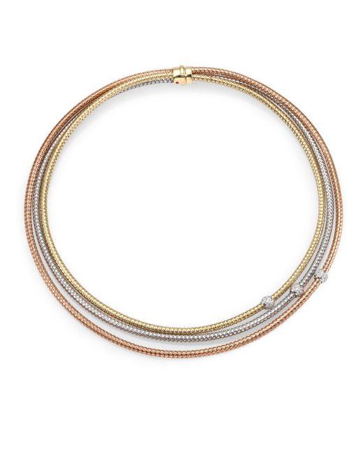 Roberto Coin | Metallic Primavera Diamond, 18k White, Rose & Yellow Gold Multi-row Necklace | Lyst