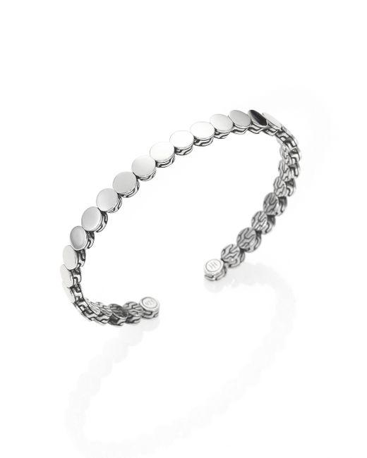 John Hardy | Metallic Sterling Silver Dot Slim Cuff Bracelet | Lyst