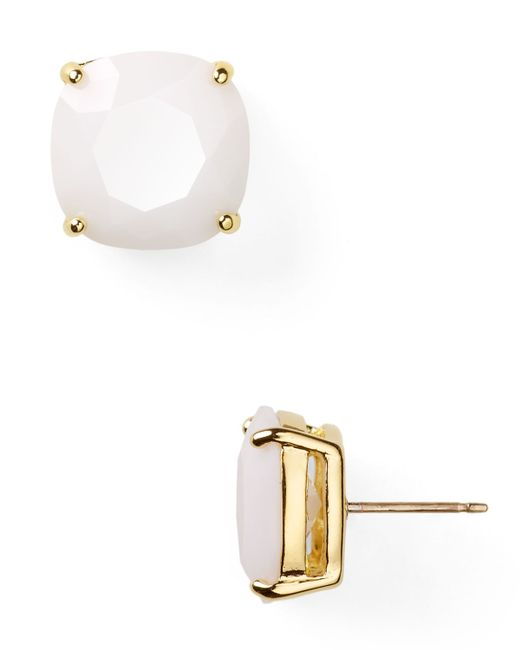 Kate Spade | White Small Square Stud Earrings | Lyst