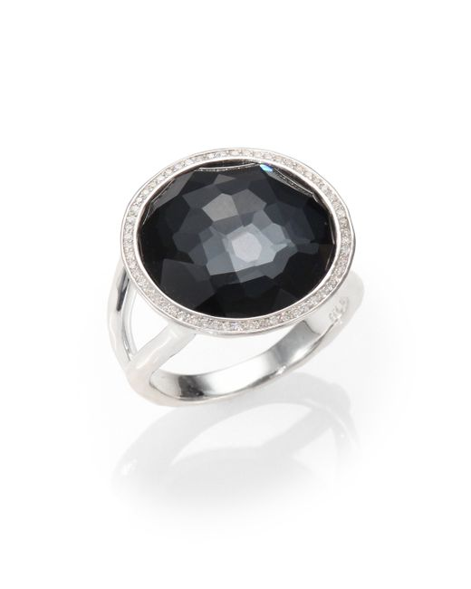Ippolita   Metallic Stella Hematite, Clear Quartz, Diamond & Sterling Silver Medium Doublet Cocktail Ring   Lyst