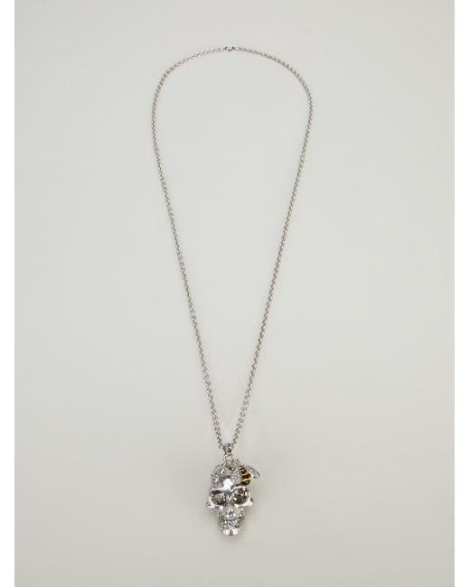 Alexander McQueen   Metallic Pixelated Skull Charm Necklace   Lyst