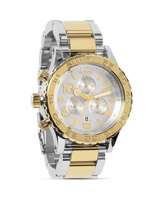 Nixon | Silver The 42-20 Chrono Two Tone Watch, 42mm for Men | Lyst