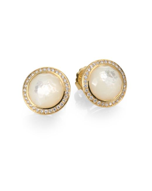 Ippolita | Metallic Lollipop Mother-of-pearl, Diamond & 18k Yellow Gold Stud Earrings | Lyst