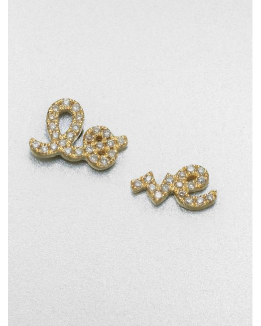 Sydney Evan | Metallic Diamond & 14k Yellow Gold Split Love Stud Earrings | Lyst