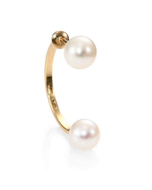Delfina Delettrez | Metallic Dual Pearl Hook Back Single Earring | Lyst