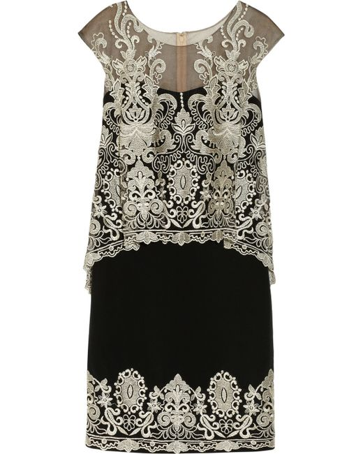 Notte by Marchesa   Black Embroidered Silkcrepe And Tulle Dress   Lyst