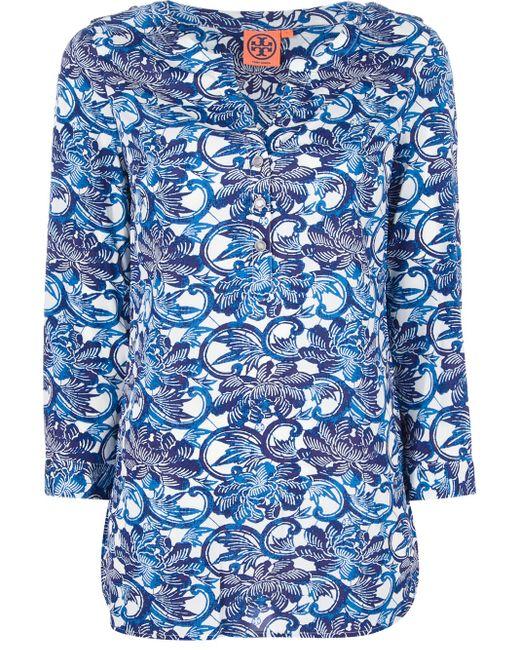 Tory Burch | Blue Floral Print T-shirt | Lyst