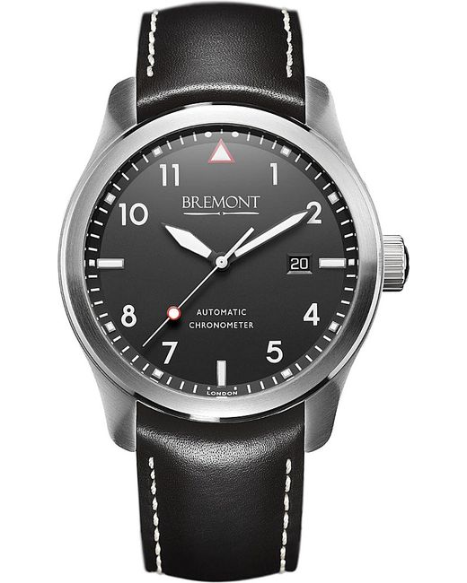 Bremont | Gray Solowh Stainless Steel And Leather Watch | Lyst