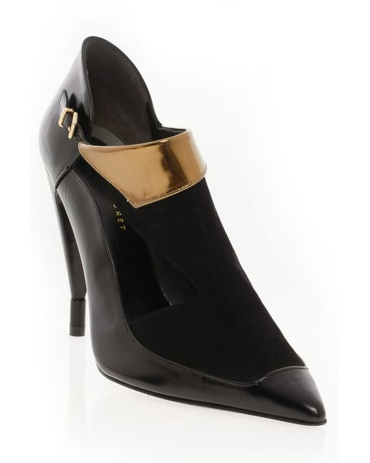 Roland Mouret | Black Romantic Cutout Boot With Gold | Lyst