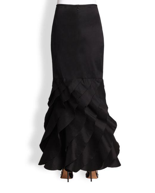 Tadashi Shoji Long Taffeta Ruffle Bottom Skirt In Black Lyst