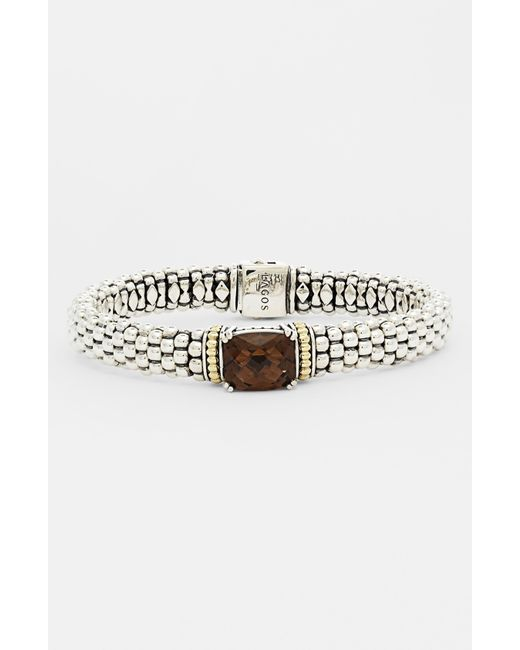 Lagos   Metallic Sterling Silver Rope Bracelet With Diamonds   Lyst