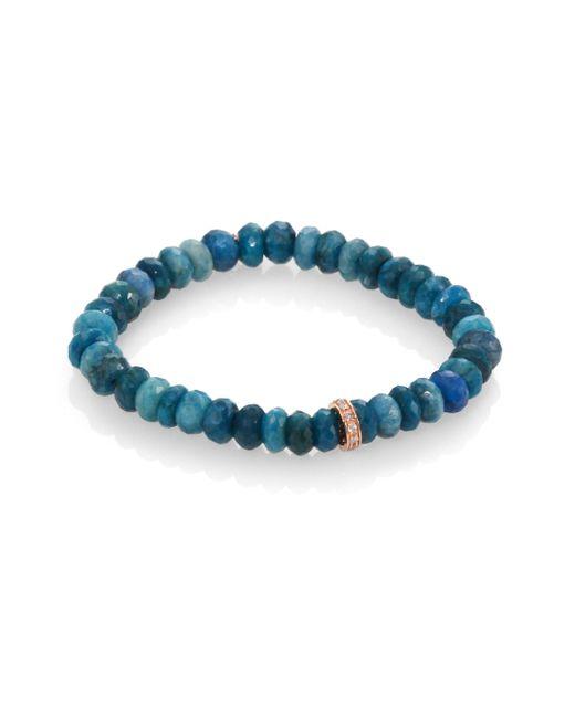Sydney Evan | Blue Diamond, Chrysocolla & 14k Rose Gold Wheel Beaded Stretch Bracelet | Lyst