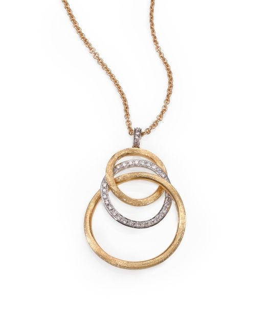 Marco Bicego | Metallic Jaipur Link Diamond, 18k Yellow & White Gold Graduated Pendant Necklace | Lyst