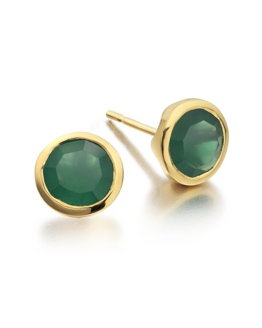 Monica Vinader | Green Isla Stud Earrings | Lyst