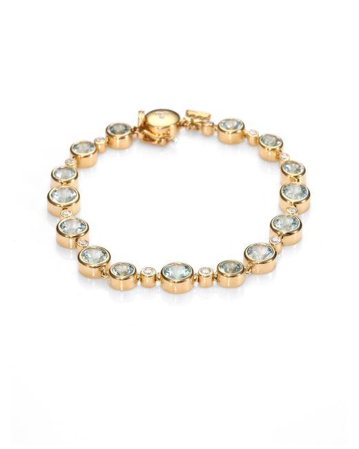 Temple St. Clair | Metallic Classic Color Aquamarine, Diamond & 18k Yellow Gold Bracelet | Lyst