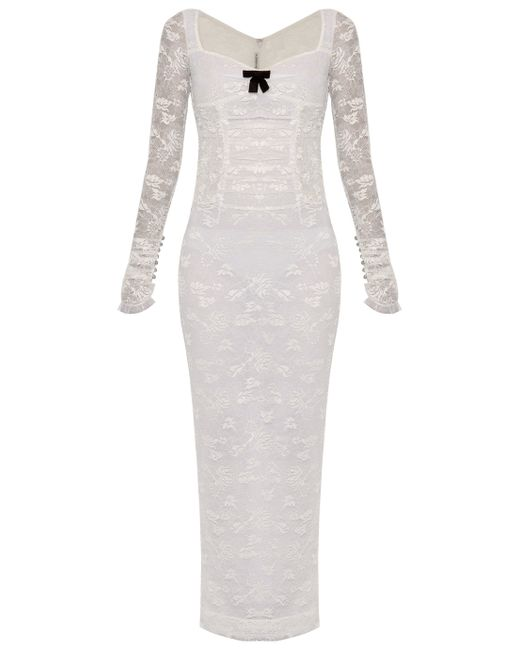 Alessandra Rich | White Stretch Lace Column Dress | Lyst