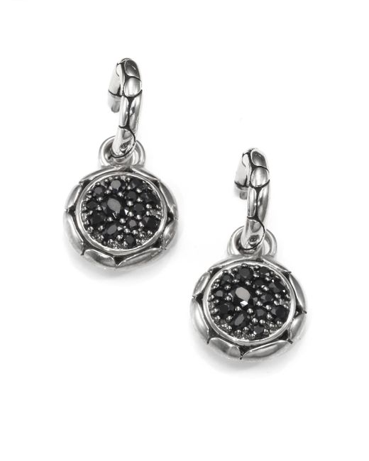 John Hardy | Metallic Kali Black Sapphire & Sterling Silver Small Hoop Drop Earrings | Lyst
