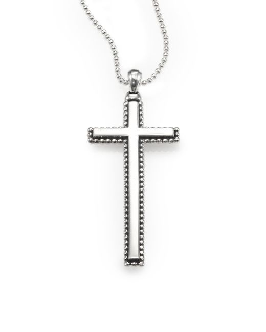 Lagos | Metallic Sterling Silver Caviarbeaded Cross Necklace | Lyst