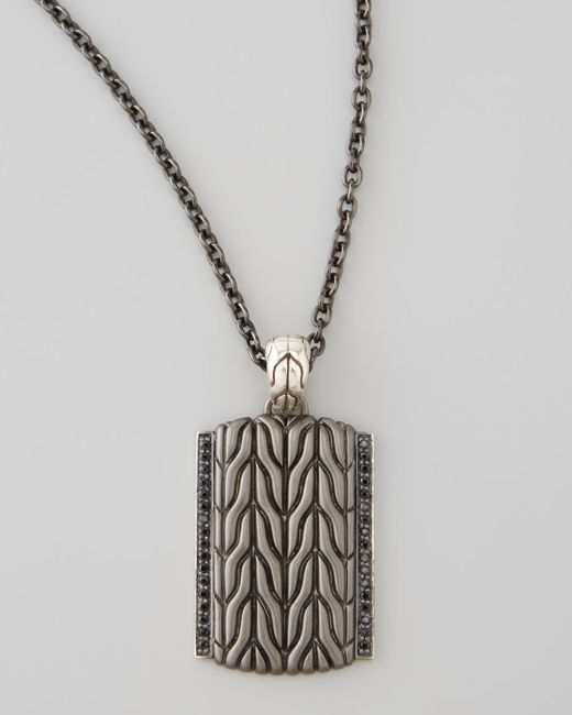 John Hardy | Metallic Black Bronze Dog Tag Chain | Lyst