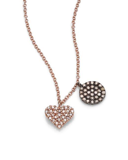 Meira T | Pink Diamond & 14k Rose Gold Heart Pendant Necklace | Lyst