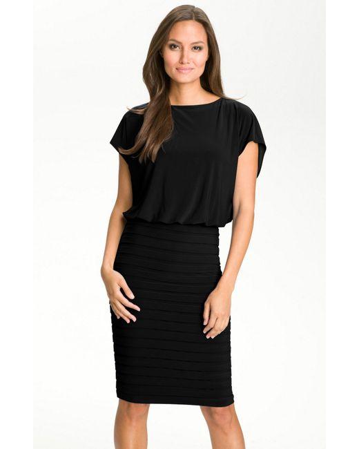 Adrianna Papell | Black Pleated Jersey Blouson Dress | Lyst